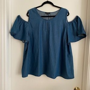Lane Bryant Cold Shoulder Chambray Top